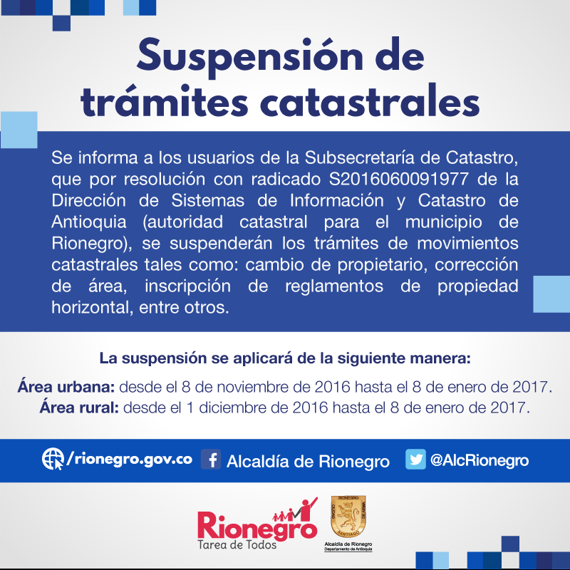 Suspension de tramites catastrales en Rionegro