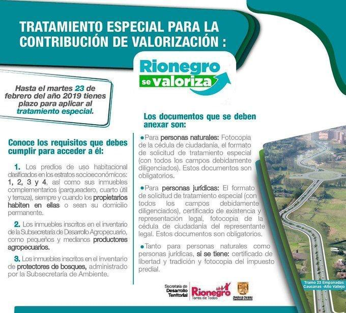 exentos de la Valorización de Rionegro